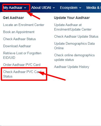 check aadhaar pvc card status