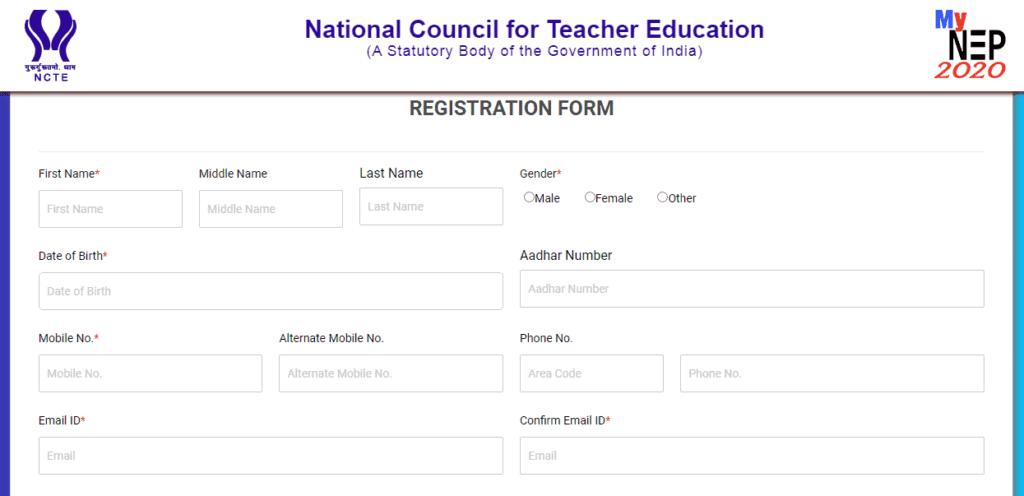 nep registration form