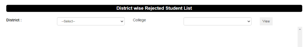 District Wise Total Rejected List