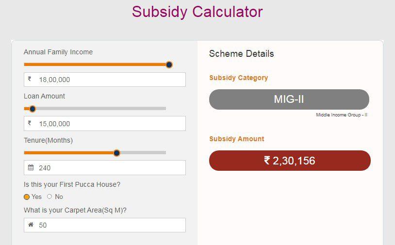 pmay subsidy calculator