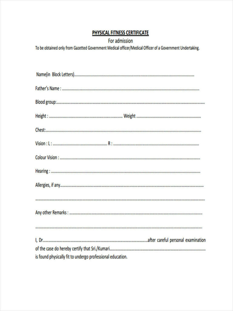 Free Physical Fitness Form in PDF
