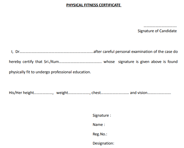 Physical Fitness Certificate PDF