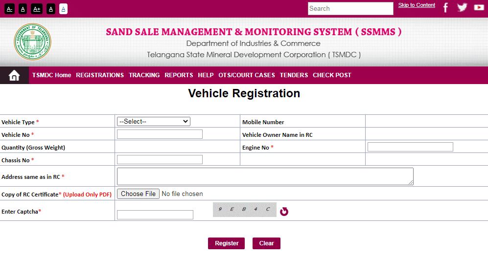 SSMMS Portal Vehicle Registration