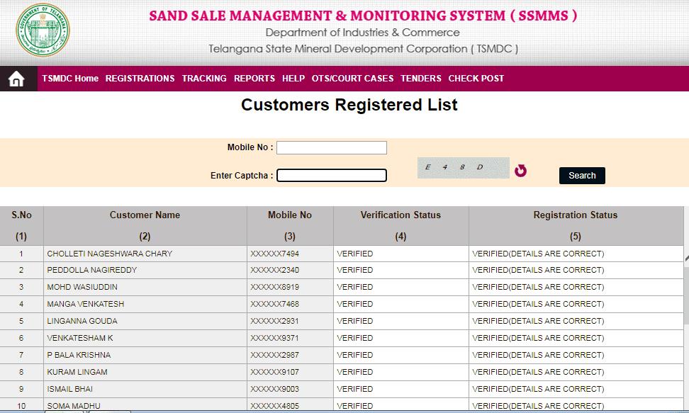 SSMMS Telangana Sand Booking System