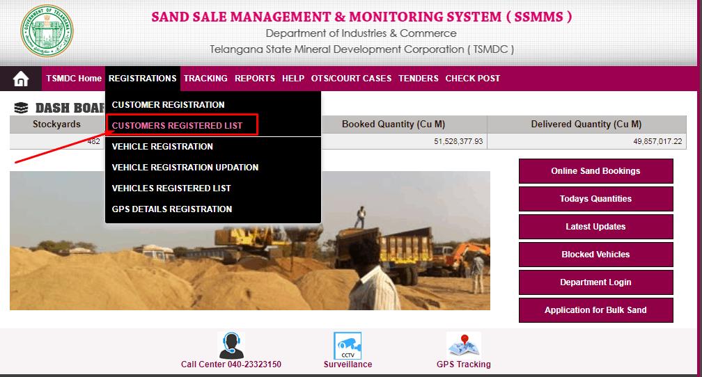 Telangana Sand Booking Status