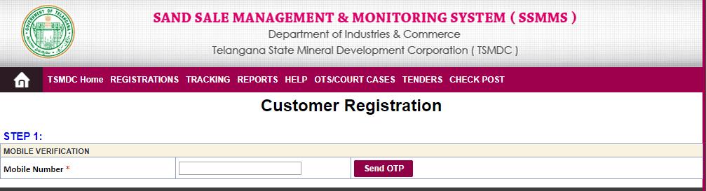 SSMMS TS Sand Booking Customer Registration