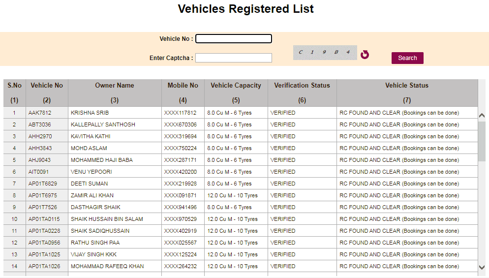 ts sand booking Vehicle registered list