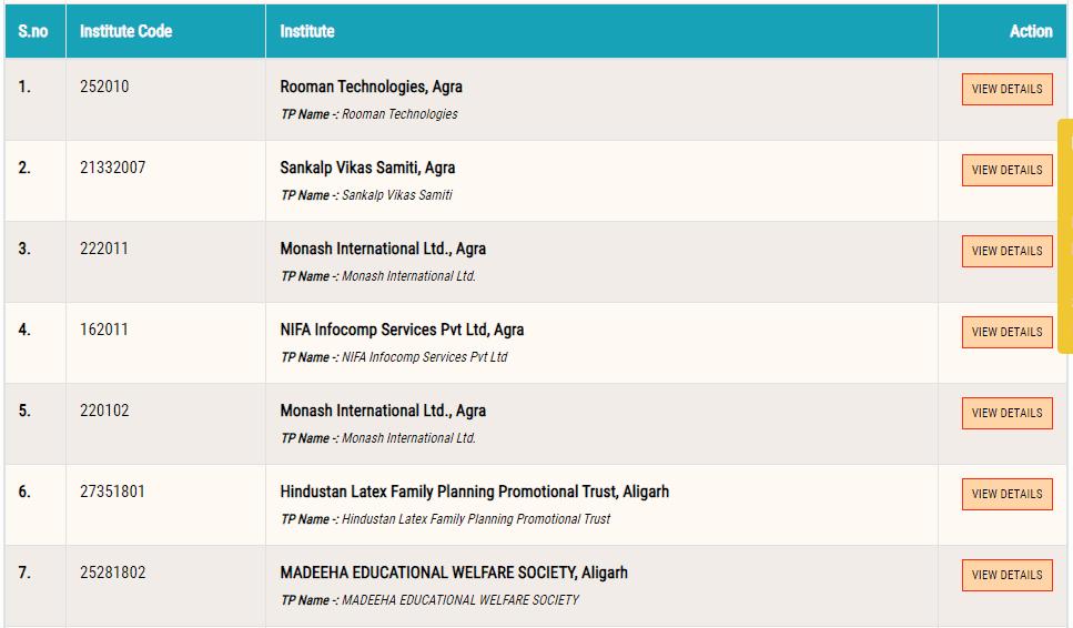 urise portal list of skill training institutes