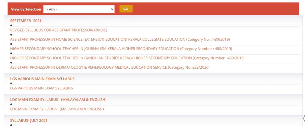 kpsc kerala thulasi portal syllabus