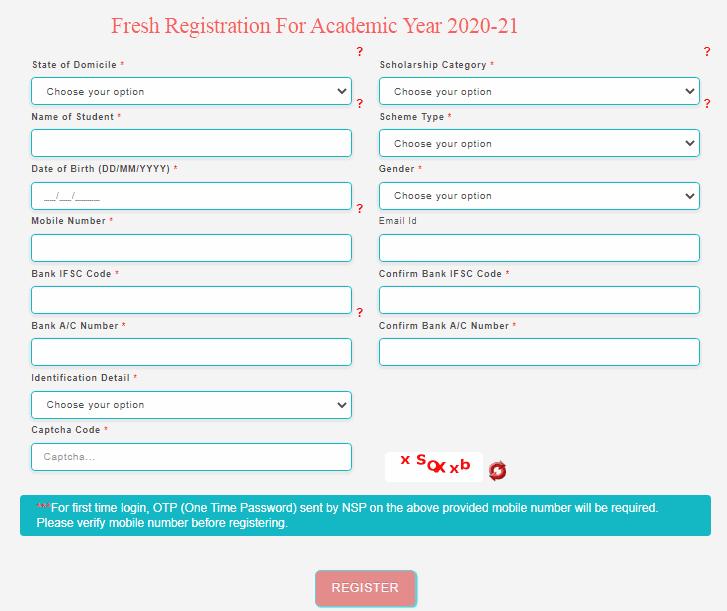 sc post matric scholarship scheme registration form