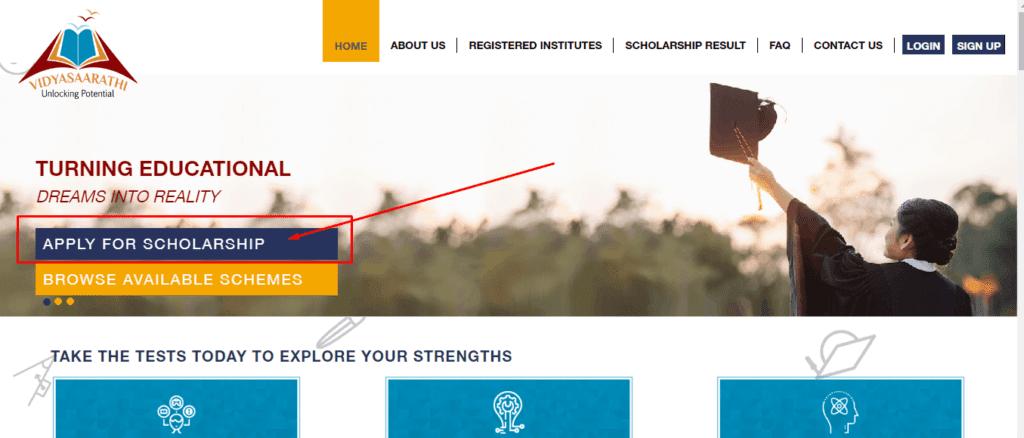 vidyasaarathi scholarship apply online