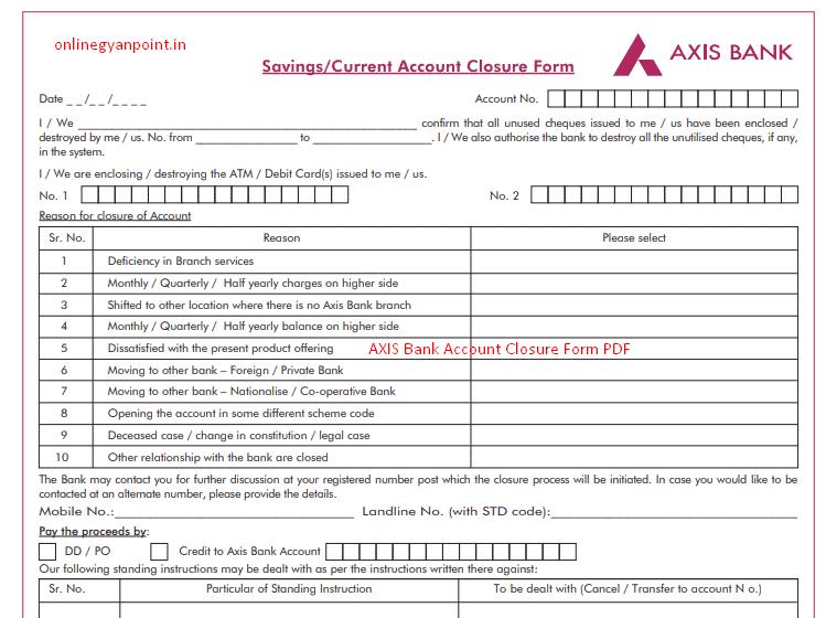 Axis bank account closure form pdf