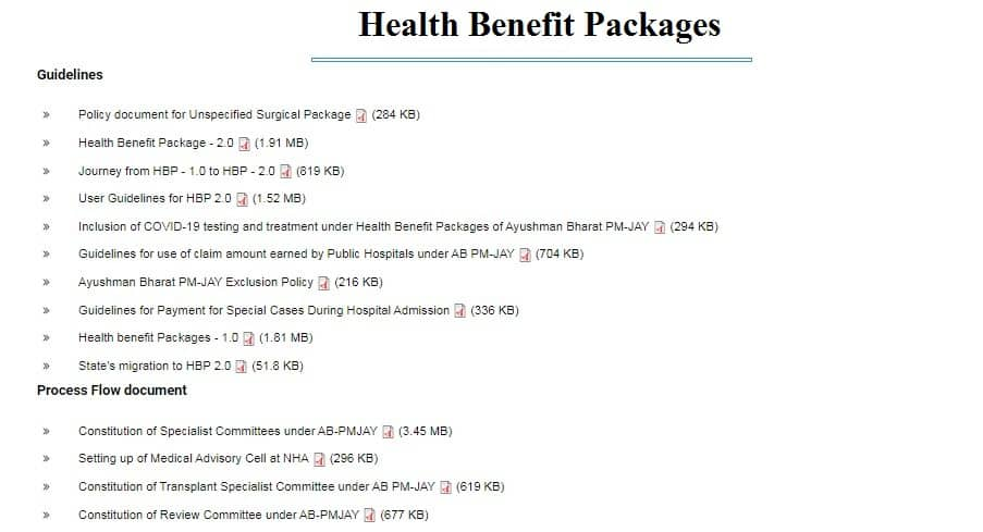 Health Benefit Packages