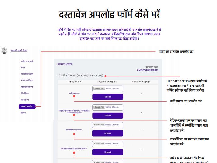 bihar yuva udhyami yojana upload documents