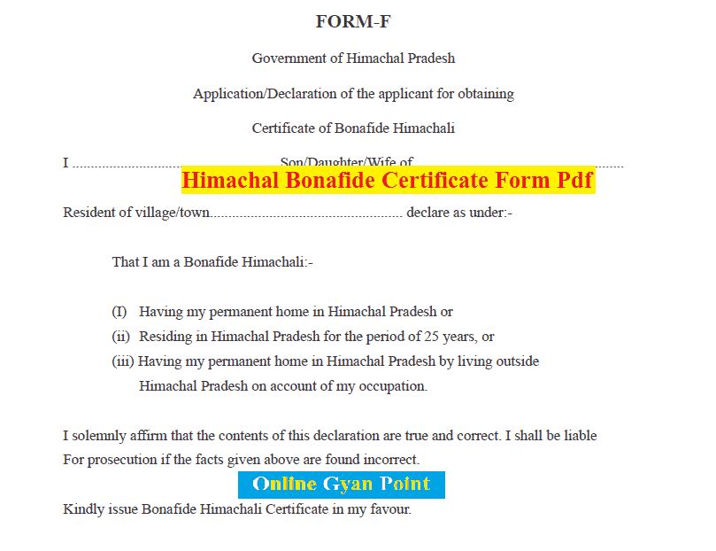 Himachal Residence Certificate Form PDF