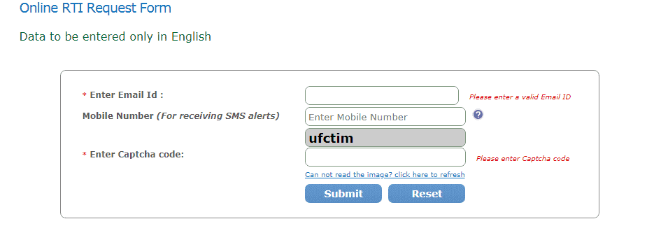Online RTI Request Form