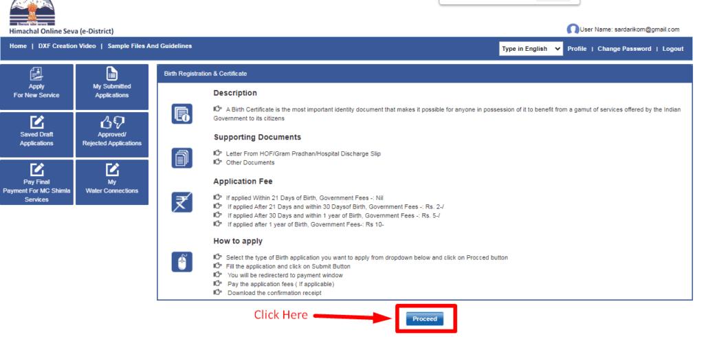 birth certificate apply online himachal pradesh
