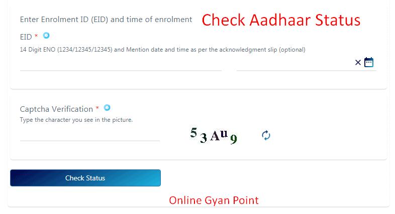 check aadhaar status