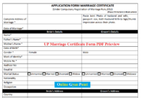 up marriage Certificate Form PDF
