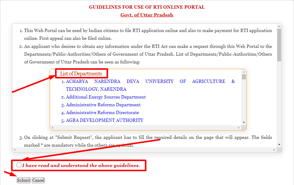 up rti application form online