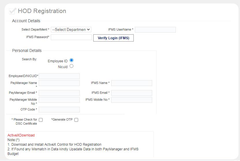 HOD Registration