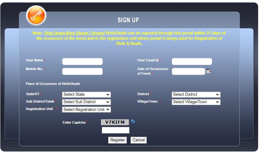 online citizen registration at birth registration