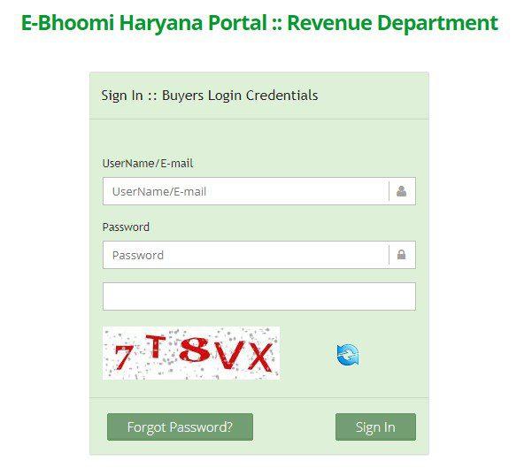 e bhoomi haryana department login