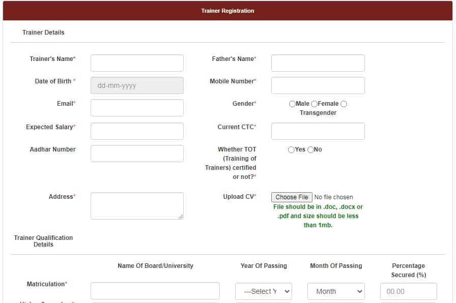 trainer registration form